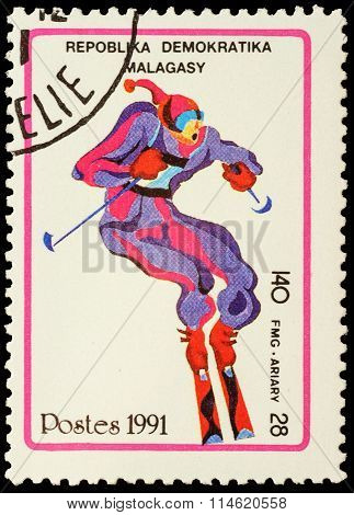 Colored Picture Of Ski Slalom On Post Stamp