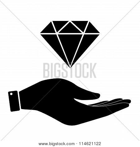 Diamond in hand icon