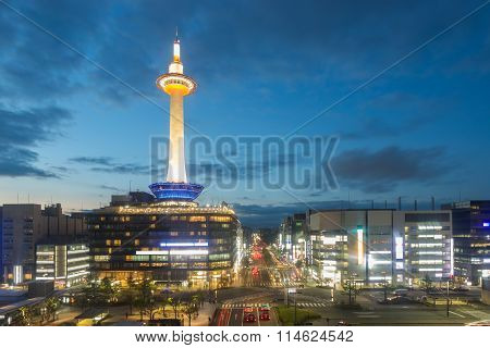 Kyoto Tower Downtown Aerial View Evening Twilight