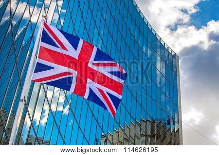 City of London, modern glass building and British flag. Business illustration