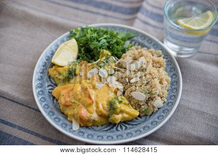 curry sauce and quinoa on a plate with fresh cilantro