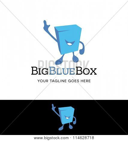 Logo design of a box shape character for business or website