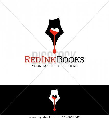 Logo design for business or website related to writing, books or publishing. pen tip and red ink.