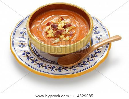 salmorejo, chilled tomato soup, spanish food isolated on white background
