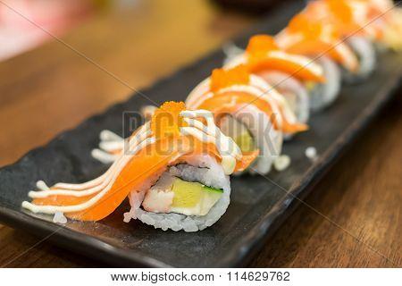 Salmon Maki In Japanese Restaurant