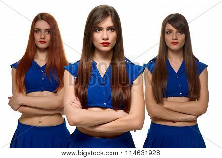 group of three pensive women. triplets sisters