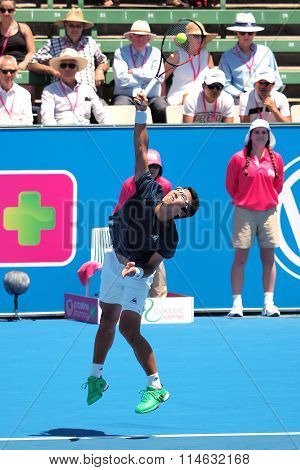 Hyeon Chung of South Korea hits a serve at Kooyong