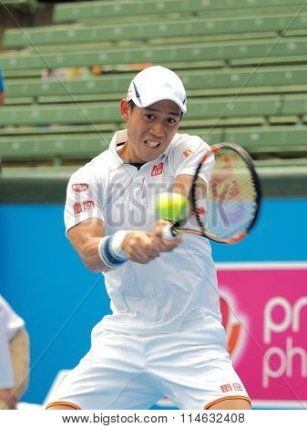 Kei Nishikori of Japan backhand impact