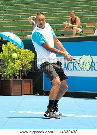 Nick Kyrgios of Australia backhand windup