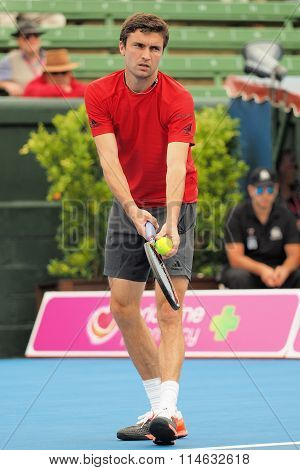 Gilles Simon of France at an Exhibition and practice match at Kooyong Tennis Club