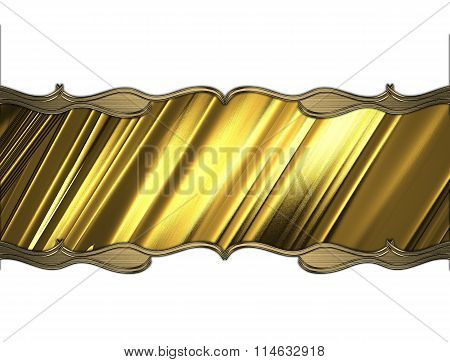 Golden Nameplate With Gold Pattern. Element For Design. Template For Design. Copy Space For Ad Broch