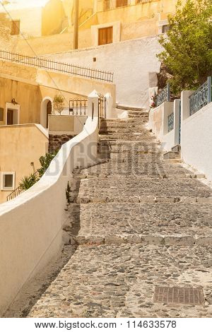 Street In Greece With Stairs