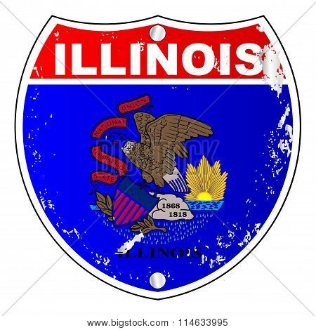 Illinois Flag Icons As Interstate Sign