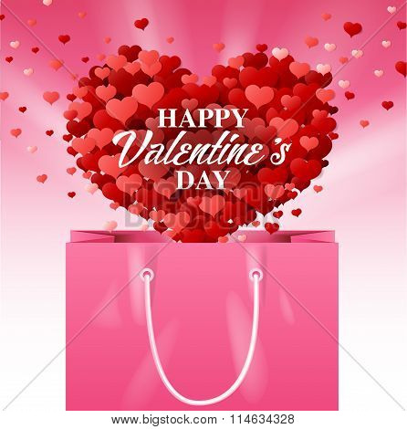 Pink Shopping Bag, Valentines Day, Vector