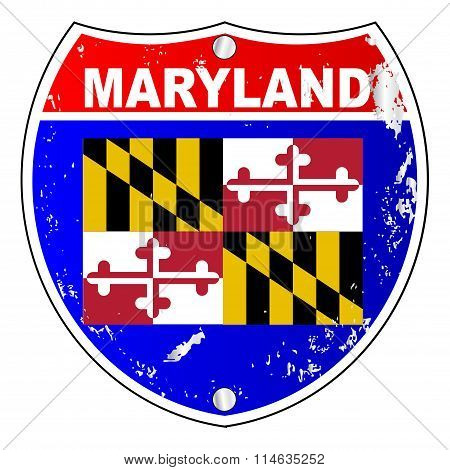 Maryland Flag Icons As Interstate Sign