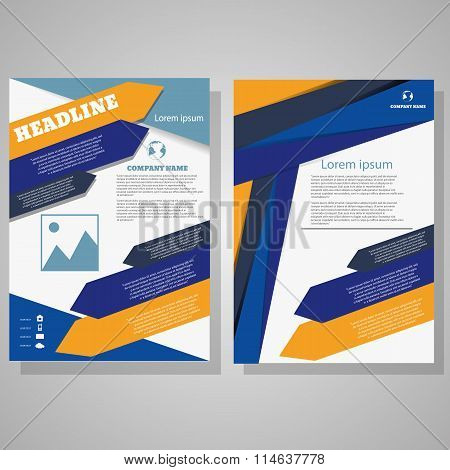 Vector Abstract Design Brochure Flyer Design Layout Template, Size A4, Front Page And Back Page Eps