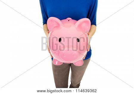 Woman with piggybank.
