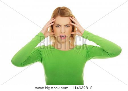 Frustrated woman screaming.