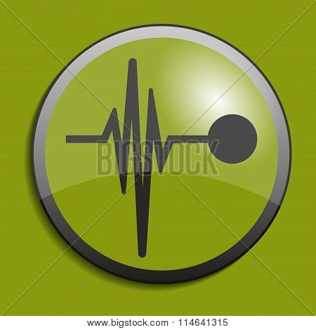 Heart Beat Line Icon On Circle Button. Vector