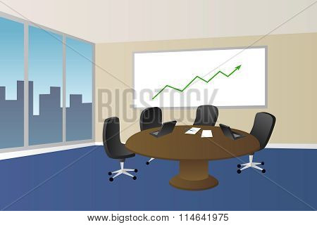 Office meeting room beige blue table chair window illustration vector