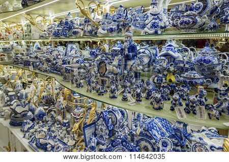 Moscow, Russia - January 10 2015 Ceramic tableware traditional Russian Gzhel painting in  gift shop