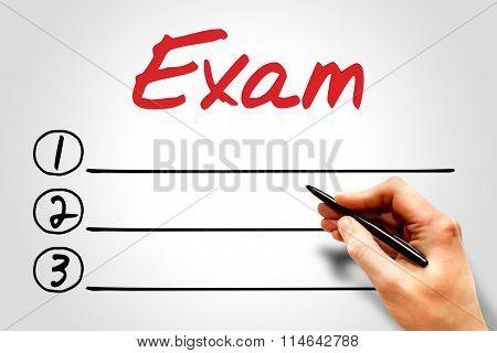Exam Blank List