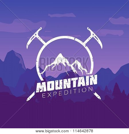 Mountain expedition. Mountain Vintage Logo Template Sign on Colofrul landscape picture.