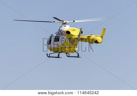 Air ambulance taking off