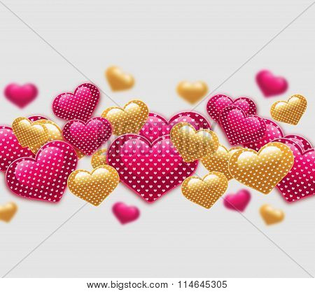 Pink and yellow hearts with love pattern.