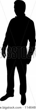 standing man body black color silhouette vector