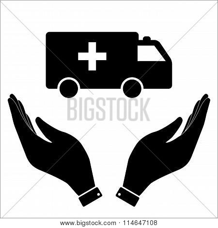 Ambulance in hand icon