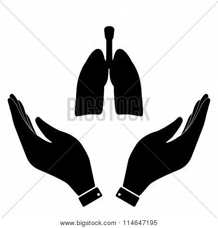 Lungs in hand icon