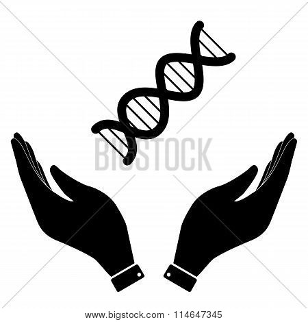 The dna in hand icon