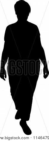a woman body, walking, black color silhouette vector