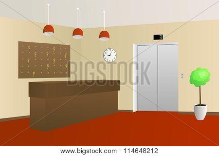 Hotel lobby reception interior illustration vector