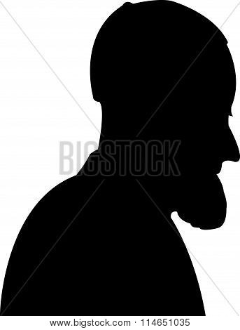 Silhouette of a man head with beard