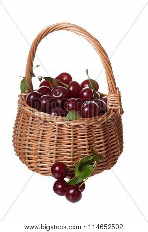 Wattled Basket Filled With Ripe Cherries It Is Isolated, A White Background