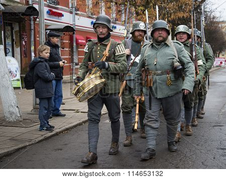 German soldiers during the First world war on parade of participants of international military-histo