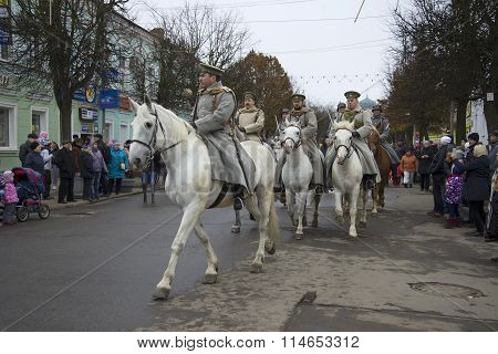 Cavalry white guard army of General Yudenich in the parade of the participants of the international