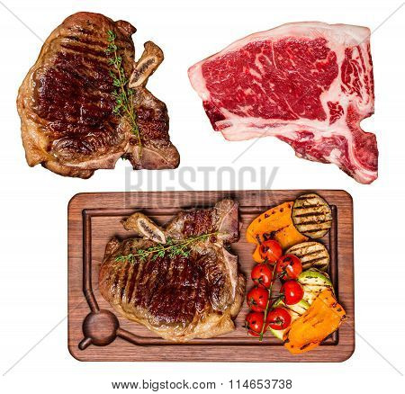 Set Of Isolated Club Beef Steak