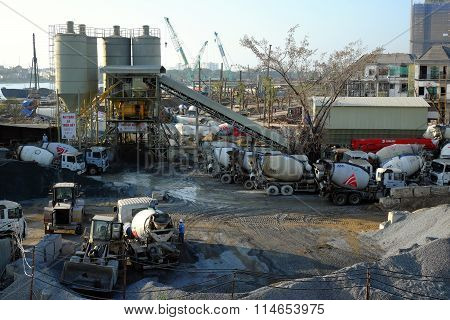 Mixer Concrete Station, Truck, Construct, Industry
