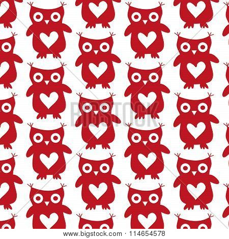 Cute owl red silhouette seamless pattern on a white background