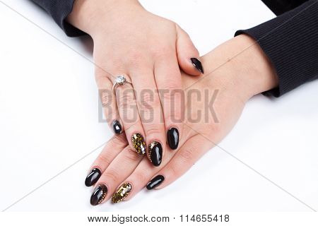 Well Cared Woman's Hands On White With Well Painted Fingernails