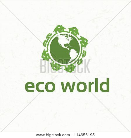 Vector Set Of Ecological City And Homes Signs And Icons