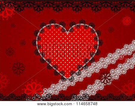 Red Lace Heart On Maroon Dotted Background