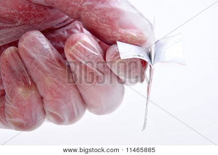 Open One Sterile Pre Injection Swab With Gloves