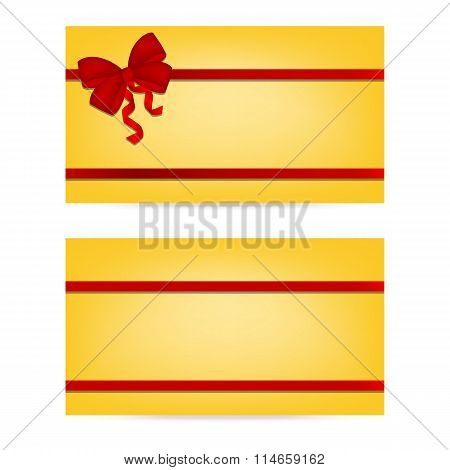 Gift cards with ribbons. Invitation card