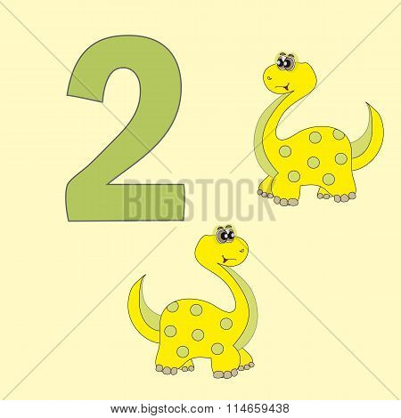 Number Two. Two Dinosaurs (brachiosaurus).