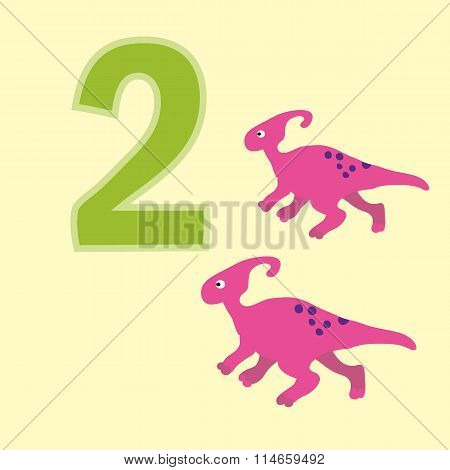 Number Two. Two Dinosaurs (sauroloph).