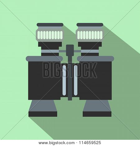 Black binoculars flat icon